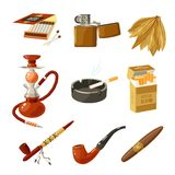 Tobacco Icons Set Royalty Free Stock Photo