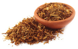 Tobacco for making cigarette. On a small bowl over white background Stock Image
