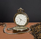 Tobacco and the old clock. Tobacco and an old clock standing on a leather plan Stock Images