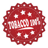 Tobacco 100 percent grunge stamp. Tobacco 100 percent grunge red stamp on white background Royalty Free Stock Photo