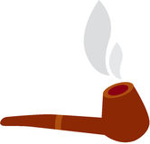 Tobacco pipe. Vector illustration of a wooden Tobacco Pipe with smoke, Isolated Stock Photo