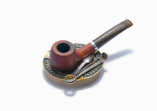 Tobacco-pipe. Old wooden tobacco-pipe isolated on white Royalty Free Stock Photography