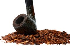 Tobacco and pipe close-up Stock Photography