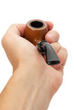 Tobacco pipe in hand isolated on white background Royalty Free Stock Photos