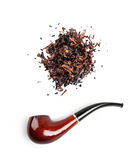 Tobacco and pipe isolated on white background Royalty Free Stock Images