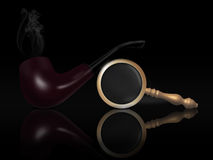 Tobacco pipe and magnifier Stock Photo