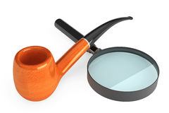 Tobacco Pipe with Magnifier Glass Royalty Free Stock Photo