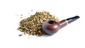 Tobacco pipe with ready-rubbed pipe tobacco Stock Images