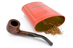 Tobacco pipe with tin box Royalty Free Stock Image
