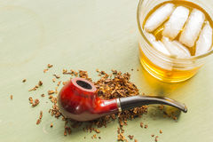 Tobacco Pipe and Whisky Royalty Free Stock Photo