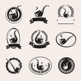 Tobacco pipes labels set. Vector Royalty Free Stock Photos