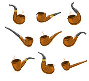 Tobacco pipes set. Vector Stock Images