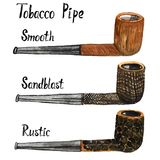 Tobacco Pipes Types briar processing set smooth, sandblast and rustic. Tobacco Pipes Types briar processing, isolated on white hand painted watercolor stock photography