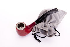 Tobacco pouch and tube for smoking Stock Photos