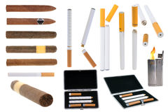 Tobacco products and electronic cigarette stock photography