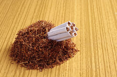 Tobacco and rolled cigarettes Stock Photography