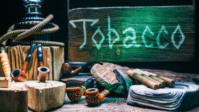 Tobacco shop wood sign Royalty Free Stock Image