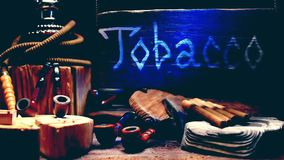 Tobacco shop wood sign stock footage