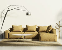 Tobacco sofa in classic white style interior Stock Illustration