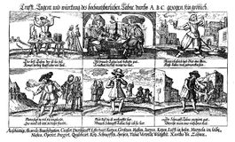 Tobacco use and abuse, caricature engraving XVII century. 17th century caricatures depicting the abuse of alcohol and tobacco Royalty Free Stock Image