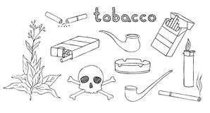 Tobaccoo and smoking  set Royalty Free Stock Photography