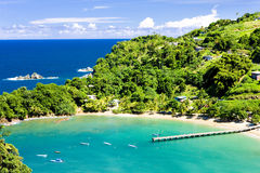 Tobago. Parlatuvier Bay in Tobago, Trinidad and Tobago Royalty Free Stock Photography