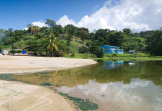 Tobago island - Parlatuvier pond - Caribbean sea. Republic of Trinidad and Tobago - Tobago island - Parlatuvier bay and pond - Caribbean sea stock photography