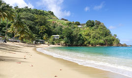 Tobago tropical island - Parlatuvier beach - Caribbean sea. Republic of Trinidad and Tobago - Tobago tropical island - Parlatuvier bay and beach - Caribbean sea stock photography