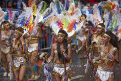 Tobas dance group at the Oruro Carnival in Bolivia Stock Photo