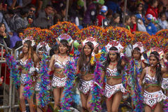 Tobas dance group at the Oruro Carnival in Bolivia Royalty Free Stock Image
