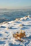 Tobbogan sur la côte glaciale de fleuve photographie stock libre de droits