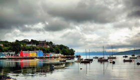 Tobermory harbour and colourful houses. Tobermory sea front isle of mull Scotland also  known as balamory  a tv program for children Royalty Free Stock Images