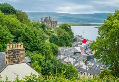 Tobermory in a summer day, capital of the Isle of Mull in the Scottish Inner Hebrides. Tobermory is the capital of, and the only burgh on, the Isle of Mull in stock photo