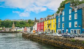 Tobermory in a summer day, capital of the Isle of Mull in the Scottish Inner Hebrides. Tobermory is the capital of, and the only burgh on, the Isle of Mull in Royalty Free Stock Image