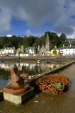 Tobermory harbour. View from the quayside in Tobermory Isle of Mull with fishing equipment in the foreground stock images