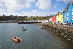 Tobermory Isle of Mull Scotland uk colourful houses and boat Stock Photos