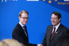 Tobias Billstrom and Nicos Anastasiades. Tobias Billstrom, Swedish Minister for Migration and Asylum Policy and Nicos Anastasiades, Candidate for President of stock images