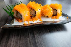 Tobiko Flying fish roe the food of Japanese style. Include flying fish roe, sea food and seaweed Royalty Free Stock Photos