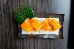 Tobiko Flying fish roe the food of Japanese style. Include flying fish roe, sea food and seaweed Stock Photos