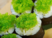 Tobiko (flying fish roe) Gunkan Maki Sushi Stock Image
