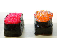 Tobiko and Ikura sushi closeup Royalty Free Stock Image