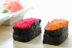 Tobiko and Ikura sushi with ginger closeup Stock Image