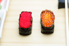 Tobiko and Ikura sushi on table Stock Photography
