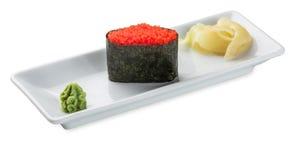 Tobiko sushi plate isolated on white Royalty Free Stock Image