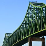 Tobin Bridge, Boston, MA. Old iron bridge. a landmark in Boston, MA stock image