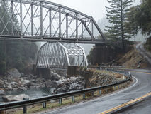 Tobin Twin Bridges. In the Feather River Canyon Royalty Free Stock Image