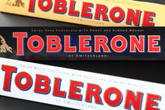 Toblerone chocolate bars. Stock Images
