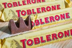 Toblerone czekoladowi bary Zdjęcie Stock