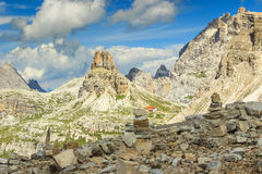 Toblin tower and Locatelli refuge,Dolomites,Italy Stock Images