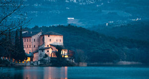 Toblino Castle. Romantic night shot of Toblino castle Royalty Free Stock Images